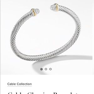 DY cable Bracelet with Diamonds and 18K Gold, 5mm